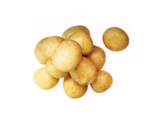 Potato. Fresh ripe potatoes isolated close-up on a white background, top view. Edible tubers vegetable of the plant solanum tuberosum, solanaceae