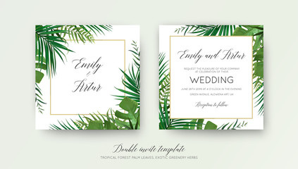 Wedding floral double invite card design with vector watercolor style tropical fan palm tree green leaves, exotic forest greenery herbs & elegant golden frame. Luxury botanical rustic natural template