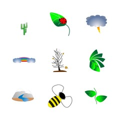 icon Nature with thunderstorm, panorama, cartoon, tropical and lightning