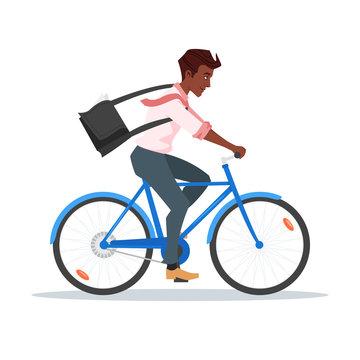 afro american businessman riding  bike
