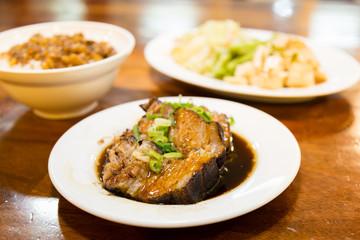 Taiwanese food, braised pork, rice, and tofu