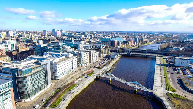 Aerial image of Glasgow Cityscape from over the River Clyde near the city centre.