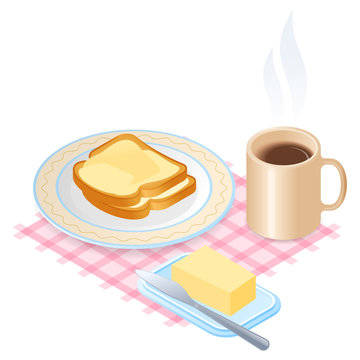 Flat isometric illustration of plate with slices of bread and butter and cup of coffee. The dish with toasts with margarine, a mug of hot coffee. The breakfast, morning eating, food vector concept.