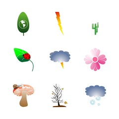 icon Nature with thunderstorm, forest, decoration, leaf fall and exotic