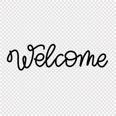 Welcome - hand drawn lettering. Isolated text in dark color. For cards, postcards, pages, business materials.