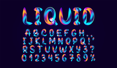 Fluid colored letter. Alphabet font of melting liquid. Design 3d sign isolated on black background.