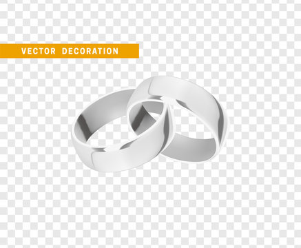 Silver wedding rings, realistic design isolated on transparent background.