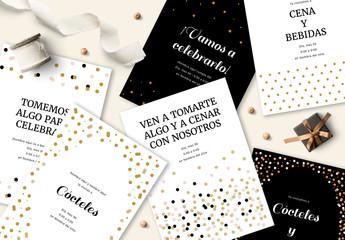 Juego de invitaciones con diseño de confeti