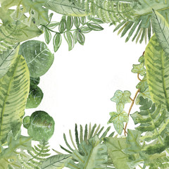 Watercolor jungle border frame with different leaves for invitations and greeting cards