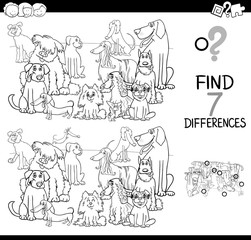 differences game with dogs group coloring book
