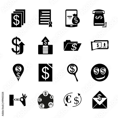 icon Currency with folder, currency symbols, exchange, forex