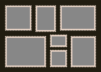 Set of Blank Postage Stamps. Vector illustration
