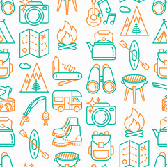 Outdoor seamless pattern with thin line icons: mountains, backpack, uncle boots, kettle, axe, map, swiss knife, canoe, camera, fishing rod, binoculars. Modern vector illustration.