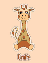 Cute giraffe, cartoon sticker, funny animal, child's drawing, card. Logo