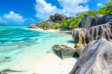 Source d'Argent Beach at island La Digue, Seychelles - Beautifully shaped granite boulders and rock formation - Paradise beach and tropical destination for vacation Wall mural