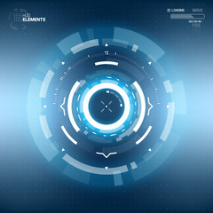 Futuristic Sci-Fi HUD Circle Element. Abstract Creative Design Background. Virtual Reality