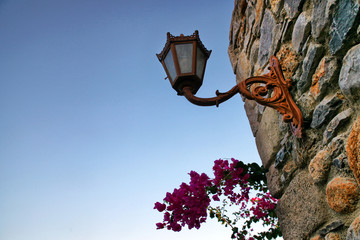 retro wall lamp and bougainvillea flowers on stone wall