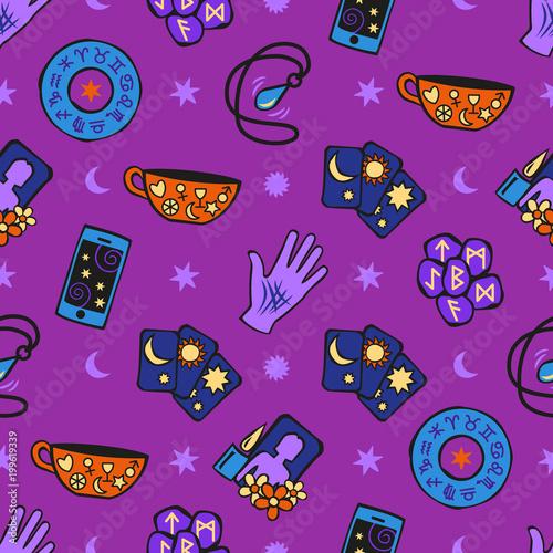 Psychic fortune teller symbols seamless pattern