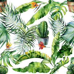 Seamless watercolor illustration of tropical leaves, dense jungle and cacti art. Pattern with tropic summertime motif and cactus illustration can be used as print, home or garden decoration