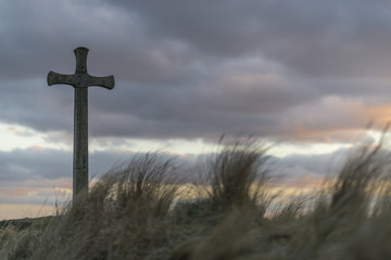 Wooden Cross on Church hill in alnmouth, Northumberland