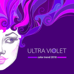 Vector illustration of half dotted beautiful girl face with violet curly hair on the purple background. Creative art background in dotwork style in trendy Ultra violet colors of 2018.