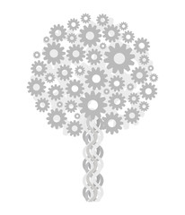 tree light metallic gray technical steampunk from gears isolated on white background vector drawing