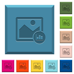 Image histogram engraved icons on edged square buttons