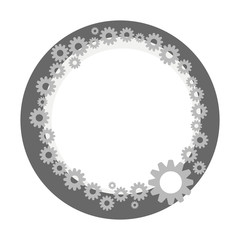 wreath border gray metallic technical steampunk from small and large gears with dark gray circle isolated on white background vector drawing