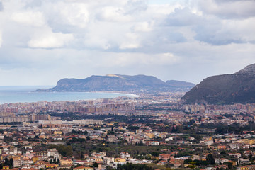 View of the outskirts of Palermo and the surrounding hills
