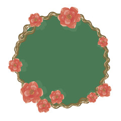 wreath border of bark of thin twisted branches with small and large bright red flowers of roses green magic mirror glass isolated on white background vector drawing