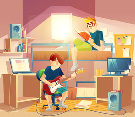 Vector dormitory room with roommates, bunk, computers, table, loudspeakers, bookshelves. Interior with furniture, inside the student dorm. College small apartment. Teenagers sharing room studying