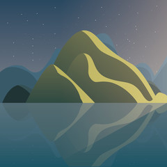winter landscape with mountains at the night, colorful design. vector illustration