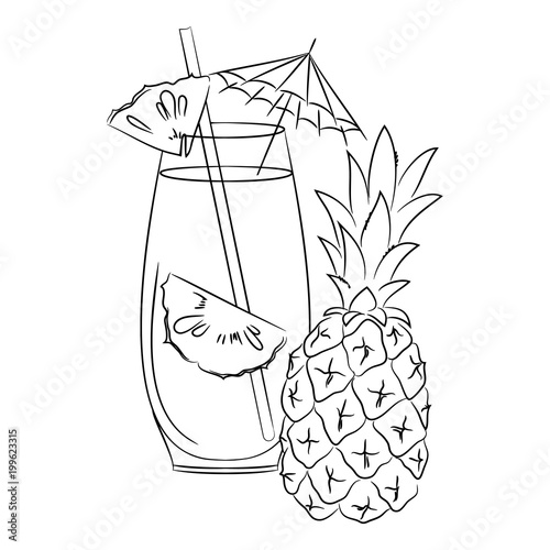 Vector Contour Pineapple Cocktail Drink With Umbrella Coloring Book