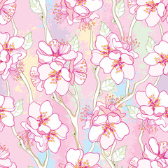 Vector seamless pattern with outline blooming Apricot flower bunch, branch and ornate leaves on the textured pastel pink background. Blossom of Apricot flowers in contour style for spring design.