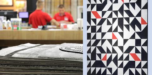 Fototapeta Sprzedawcy w sklepie z dywanami, ludzie, mężczyźni. obraz