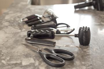Black and steel kitchen gadgets
