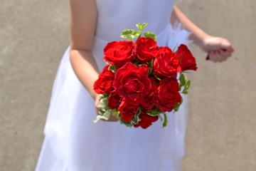 red rose flower girl bouquet