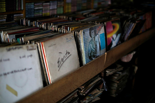"Vinyl records are seen at ""El Pollo Musical"" (The Musical Chicken) record store in San Salvador"
