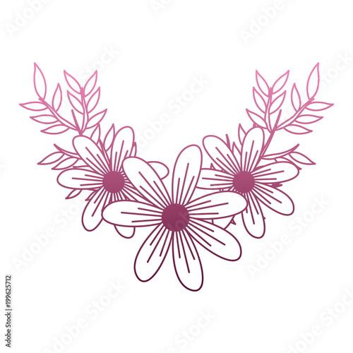Beautiful flowers cartoon on purple lines vector