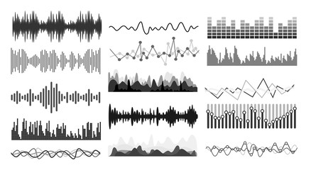 Set of Music sound waves. Audio technology musical pulse or sound charts. Audio equalizer technology, pulse musical. Vector illustration. Isolated on white background