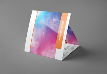 Square Trifold Brochure Layout with Orange Accents