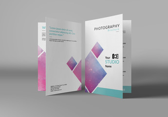 Photography Brochure Layout with Light Blue Accents
