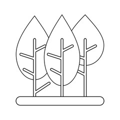 Trees nature cartoons on black and white colors vector illustration,