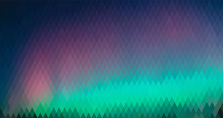 Northern lights, abstract polygon  background, from a rhombus of different colors (horizontal format)