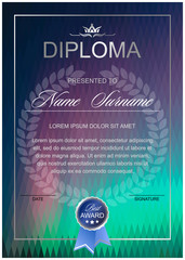 Diploma on a northern lights, abstract polygon background, from a rhombus of different colors (vertical  format)