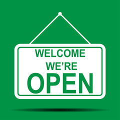 welcome we are open green sign in flat style