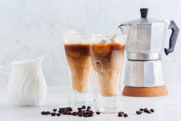 Iced coffee with milk, beautiful and clean composition