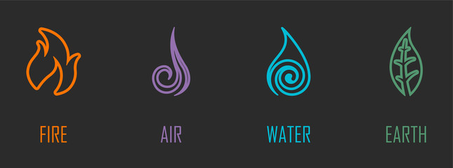 Abstract Four Elements (Fire, Air, Water, Earth) Line Symbols