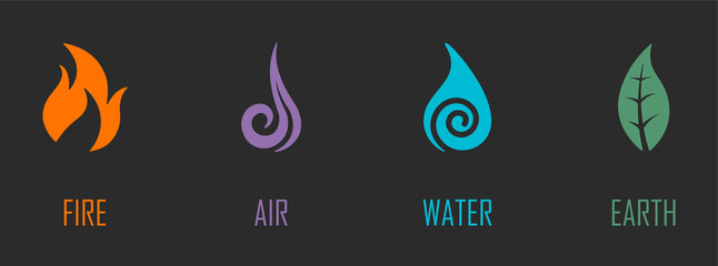 Abstract Four Elements (Fire, Air, Water, Earth) Symbols