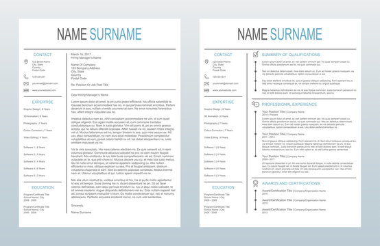 Vector Minimalist Creative Cover Letter And One Page Resume/CV Template